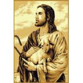 DYWAN MAKATA JEZUS Z BARANKIEM BEŻ 80x130