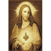 DYWAN MAKATA SERCE JEZUSA BEŻ 80x100